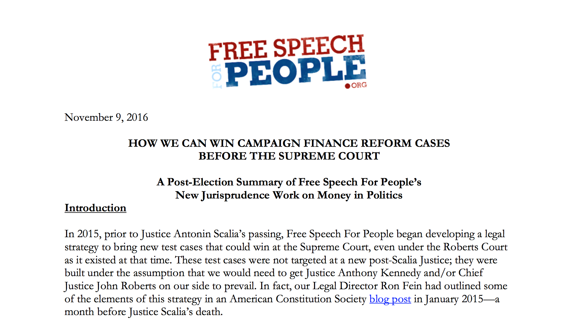 an introduction to the campaign finance reform Party polarization and campaign finance of trustees of the campaign finance institute introduction finance system and then assess whether campaign finance reform offers promise for reducing polarization and strengthening american democracy.